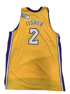 New 2011 Derek Fisher Los Angeles Lakers 2XL Yellow Swingman Stitched Jersey NWT