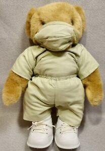 NURSE VERMONT TEDDY BEAR in SCRUBS with FACE MASK & SHOES