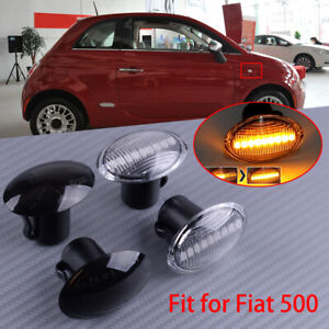 2x Dynamic LED Side Marker Indicator Repeater Light Fit For Fiat 500 Abarth Ford