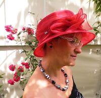 Damen Hut traumhaft Organzahut Rubinrot Anlasshut Hochzeit Ascot Festlich Schön