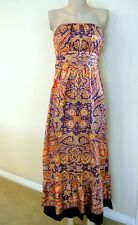 NWT THE LIMITED SILKY DOUBLE LAYERED STRAPLESS MAXI DRESS, sz 8 (6 /8), Multi