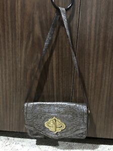 orYANY METALLIC SILVER AGED BROWN LEATHER FLAP SHOULDER BAG PURSE TURNLOCK GOLD