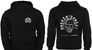 ZIP HOODIE BROKEN BONES unisex skate punk rock sweatshirt jumper discharge gbh