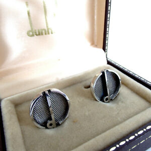 DUNHILL Sterling silver 925 Cufflinks d-logo Round with Case