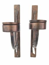 Oil Rubbed Bronze Candle Sconce Pair Iron Wall Decor Hammered Forged Look NWT