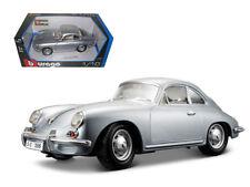 ANAA-12026S-1961 Porsche 356B Coupe Silver 1/18 Diecast Car Model by Bburago