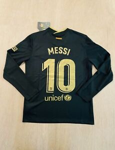 Leo messi Barcelona Away Long Sleeve Soccer Jersey Size Large
