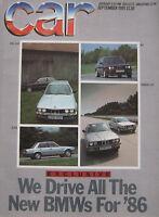 CAR 09/1985 featuring BMW M3, 325i, VW Golf GTi, Alfa Romeo, Vanwall, Bentley