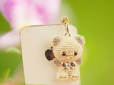 wholesale 15X pearl bear 3.5mm Anti Dust Plug Cover Stopper Charm iPhone 5 4/4s