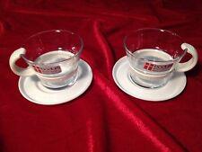 VTG Bodum Denmark Demitasse Espresso Glass Coffee Mug Cup Saucer Set of 2 in BOX