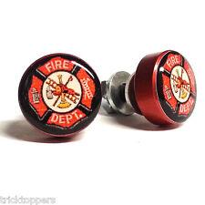 """2 Red Billet """"Firefighter"""" License Frame Bolts Motorcycle Custom Tag Fastener"""