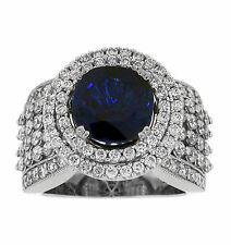 with Diamond Right Hand Cocktail Ring 18K White Gold 4.00ct Round Sapphire