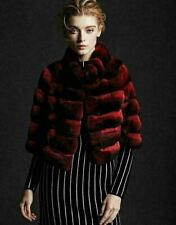 Short Burgundy Red Chinchilla Fur Jacket Elbow Length Sleeves Stand Up Collar