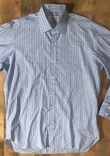 Men's Turnbull & Asser Sea Island Quality Made In Italy Blue Plaid Shirt 16 1/2