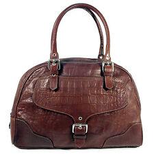 NORDSTROM Western Brown Croc Leather and Silver Large Satchel Tote Handbag