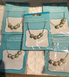 Beads-5 Packs Metal Enamel Fancy Beads-Charm-Peridot, White, Spacer-Fancy Finer