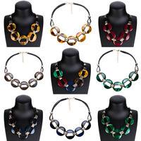 Fashion Jewelry Women Choker Chunky Bib Leather Chain Pendant Acrylic Necklace