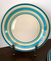 Set of 6 Royal Norfolk Stoneware Dinner Plates Blue Turquoise & Aqua color bands