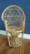 Mini Peacock Wicker Rattan Chair For Dolls Bears Plants Holder Tall Display