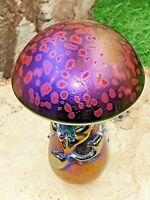 Neo Art Glass handmade red iridescent mushroom paperweight ornament K.Heaton