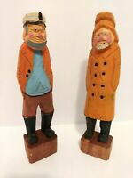 2 Vintage Hand Carved Wooden Fisherman Captain Sailor Nautical Figures 12' Cedar