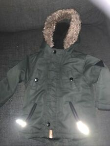 Baby Boys 12-18 Months Green Fur lined hooded Coat Warm Winter Comfy Jacket