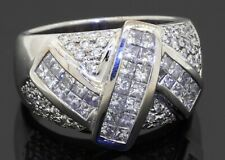 Heavy 18K white gold 2.76CTW VS Princess diamond cluster men's ring size 9.75
