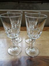 SET OF FOUR FRENCH VINTAGE / RETRO CRYSTAL CLEAR CUT GLASS WINE GLASSES