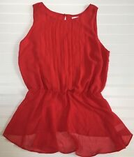 Bisou Bisou Michele Bohbot Womens M Red Pleated Tunic Top Blouse Silky Evening