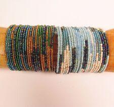 Set of 2 Turquoise Multi Color Block Beaded Cuff Handmade Bracelet Glass Beads