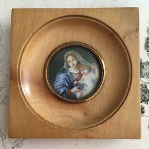 Miniature Peinte La Vierge aux Raisins d'après P. Mignard - Handpainted Frame