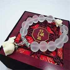 Fashion Natural Crystal Stone Beaded Bracelet Elephant Charm Chain Jewelry Gift