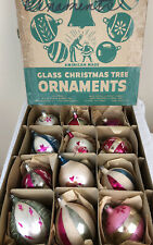 Vintage Shiny Brite Glass Holiday Christmas Ornaments with Box 12