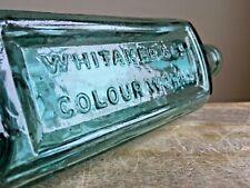 More details for vintage embossed whitaker & co colour works - kendal england aqua glass bottle