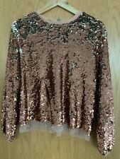ASOS Woman's Sequin Top, Rose Gold, Long Sleeves Size Uk 6 Eu 34