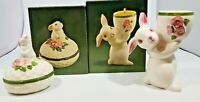 Vintage Avon Bunny Bright Ceramic Trinket Box and Candle Holder