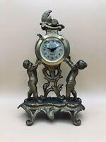 Vintage West Germany Mercedes Mantel Dresser Clock Gilded Cherubs Works