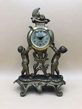 Antique West Germany Mercedes Mantel Dresser Clock Gilded Cherubs Works