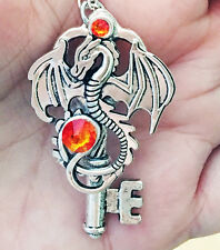 Fire Dragon Silver Crystal Skeleton Key Fantasy Game of Thrones Necklace Chain