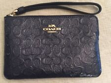 Authentic Coach Debossed Patent Leather Midnight Corner Zip Wristlet F58034 NWT