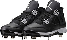 Nike Air Jordan 4 IV Retro Black Metal Baseball Cleats (807710-010) Size cf87138fdcc40