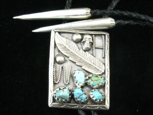 Heavy 925 Sterling Silver Native Pattern Genuine Turquoise Bolo Tie