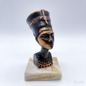 Büste der Nofretete aus Bronze auf Marmor-Sockel Ägyptische Skulptur - 13cm