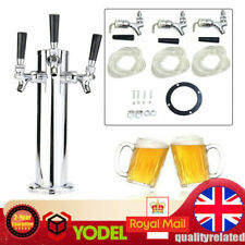 More details for 3 taps draft beer tower triple faucet stainless steel homebrew bar party silver