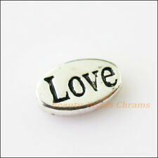 5Pcs Antiqued Silver Tone Oval Love Words Spacer Beads Charms 7.5x13.5mm