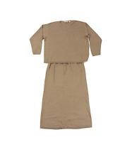NOS Vintage 90s Eddie Bauer Womens 1X Knit Stretch Sweater Skirt Suit Tan Cotton