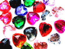 40 Mixed Colours Faceted Love Heart Beads 16 mm Acrylic Rhinestone Gems Sew On