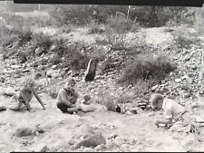 Vintage 20s Photo Negative Three Children Playing with Rocks Truck in Canyon CA