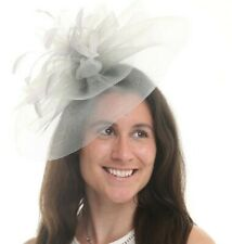 New Ladies Outdoor Occasion Wedding/Races Fascinator Style F3384 Silver