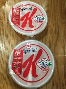 2 Special K Tote-a-bowls NEW Unopened spoon included plastic